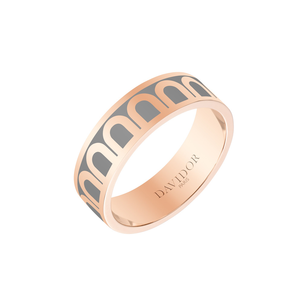 "18k Rose Gold & Anthracite Lacquer ""L'Arc"" Medium Band"