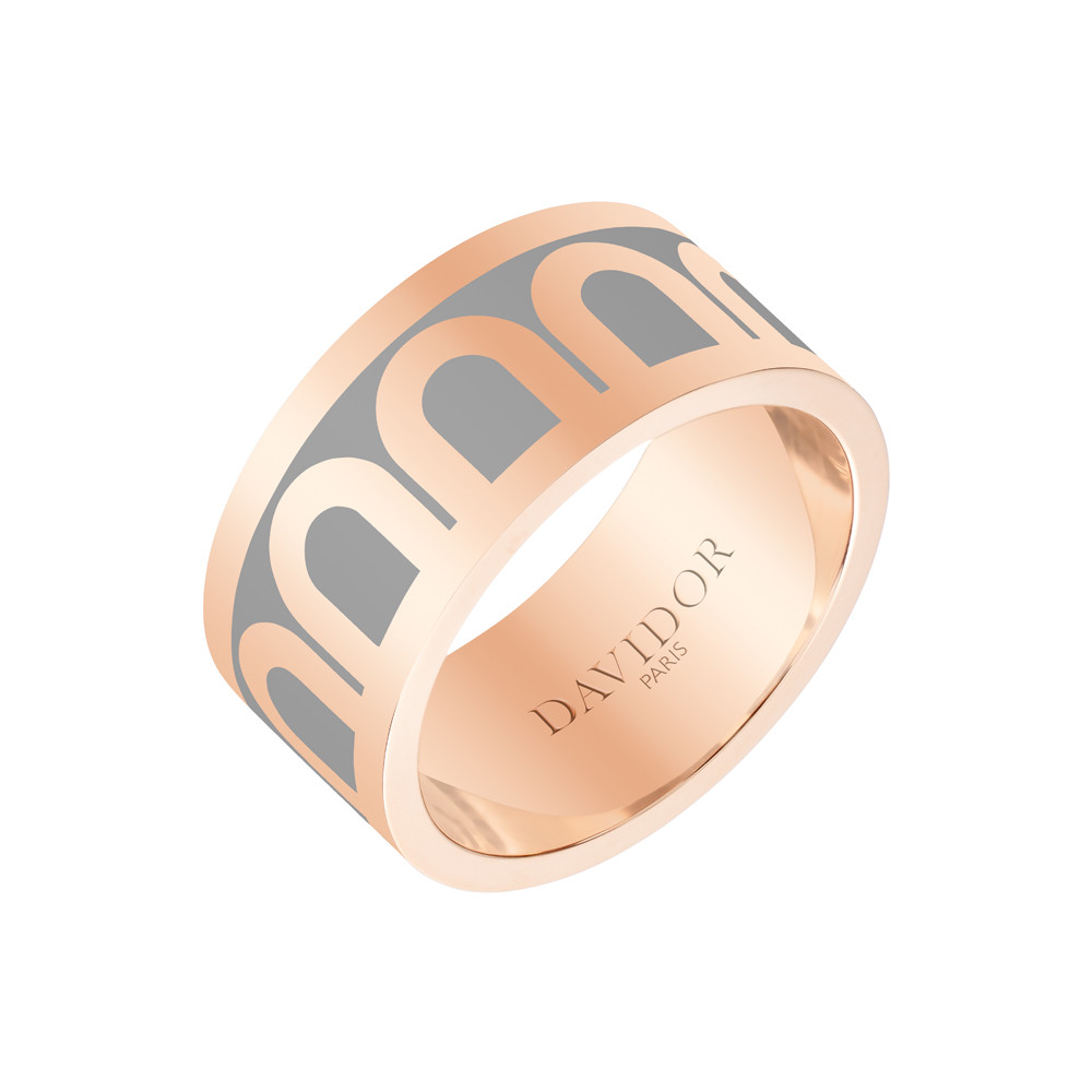 "18k Rose Gold & Anthracite Lacquer ""L'Arc"" Wide Band"