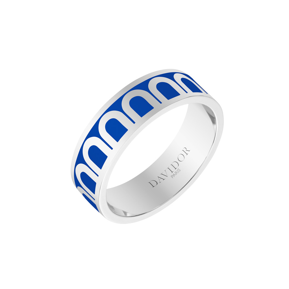 "18k White Gold & Riviera Lacquer ""L'Arc"" Medium Band"