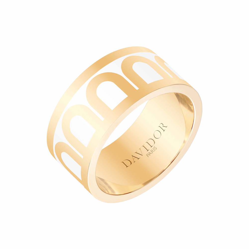"18k Yellow Gold & Neige Lacquer ""L'Arc"" Wide Band"