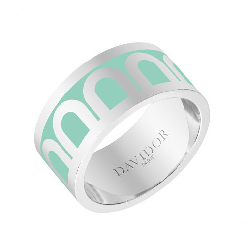 "18k White Gold & Mint Green Lacquer ""L'Arc"" Wide Band Ring"