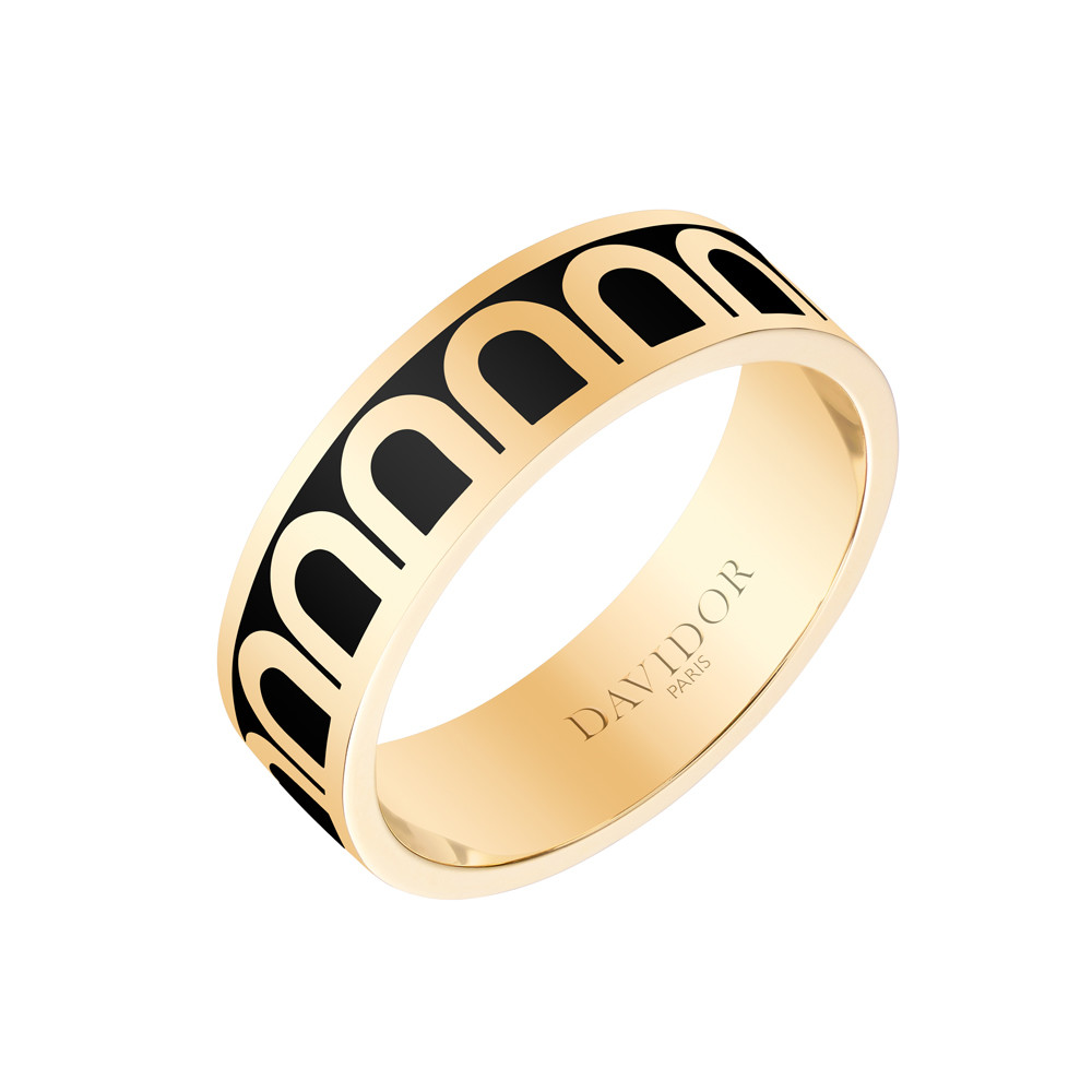 "18k Yellow Gold & Caviar Lacquer ""L'Arc"" Medium Band"