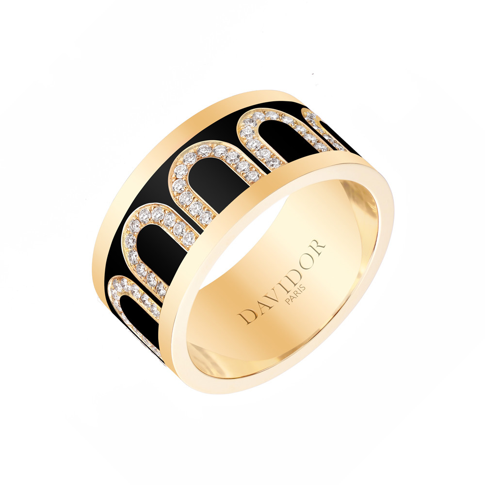 "18k Yellow Gold, Diamond & Caviar Lacquer ""L'Arc"" Band"