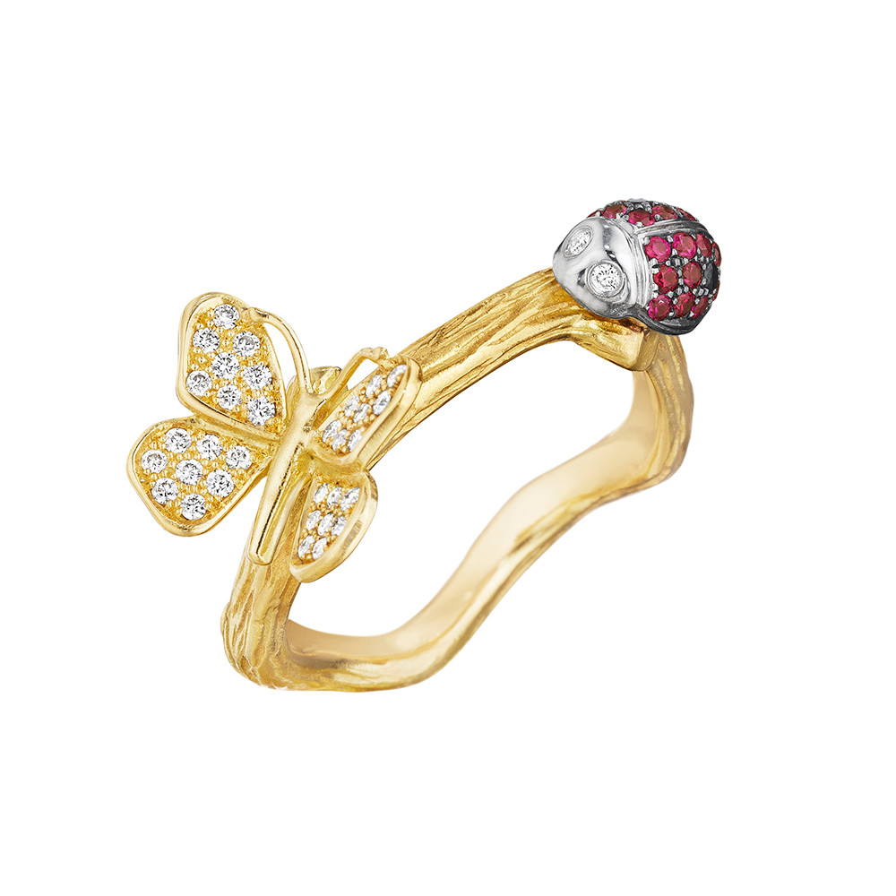 18k Gold & Gem-Set Ladybug & Butterfly Band Ring
