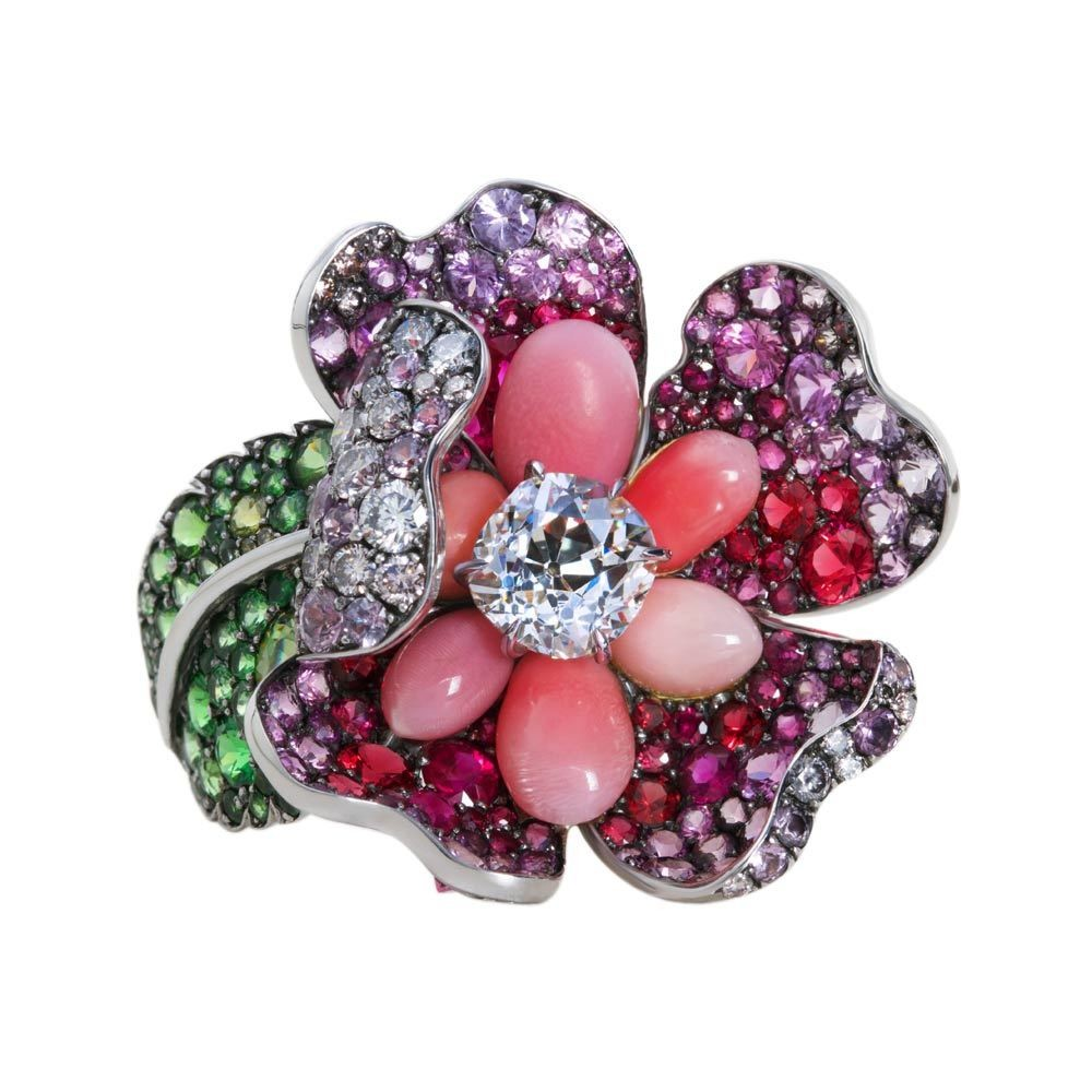 Conch Pearl, Diamond & Gemstone Rose Ring