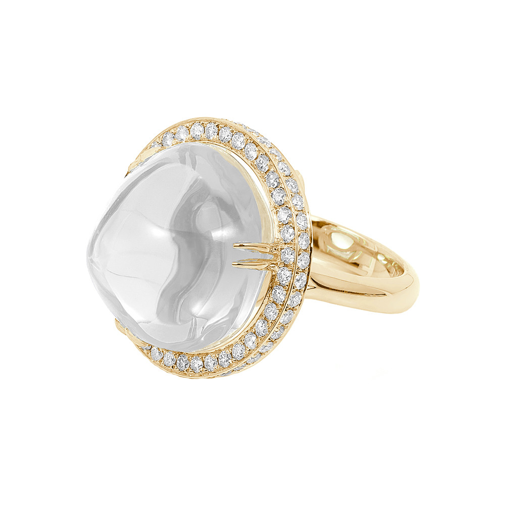 Cabochon-Cut Rock Crystal & Diamond Cocktail Ring