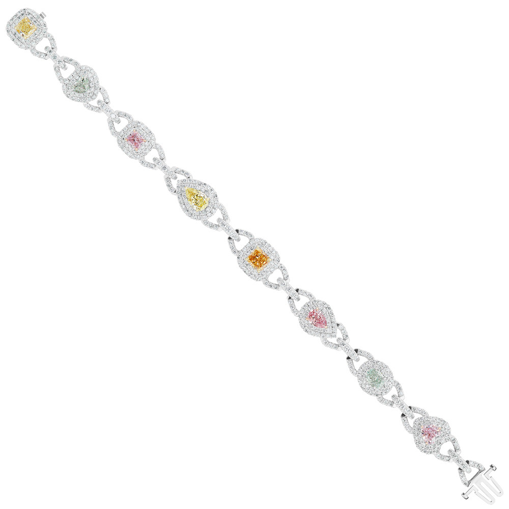 Fancy Multicolored Diamond Link Bracelet