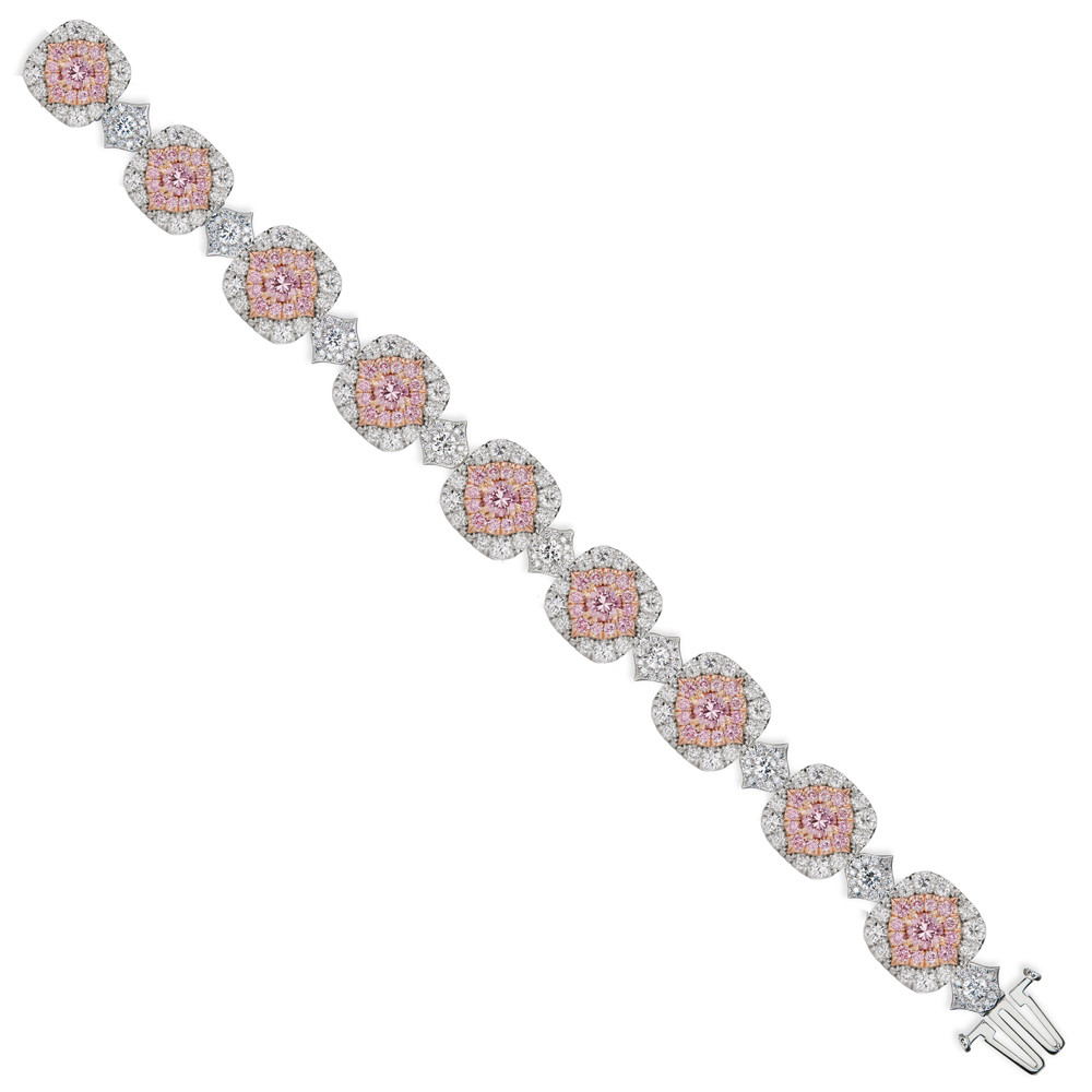 Pink & White Diamond Halo Bracelet