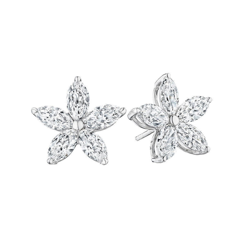 Marquise Diamond Five-Petal Flower Stud Earrings