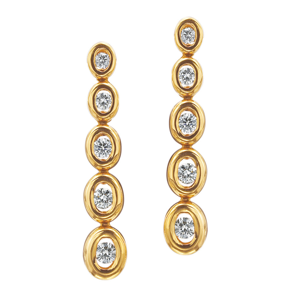 "18k Yellow Gold & Diamond ""Oasis Journey"" Drop Earrings"