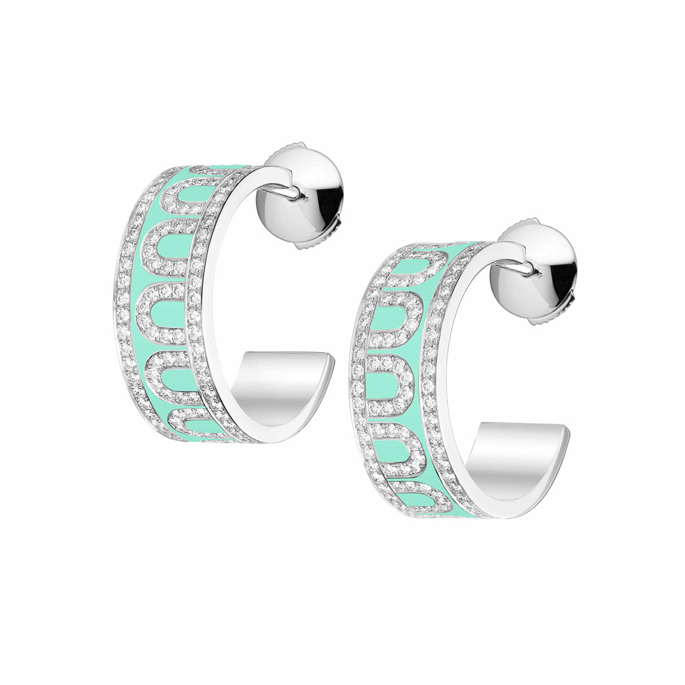 "18k White Gold, Diamond & Palm Beach Lacquer ""L'Arc"" Hoops"