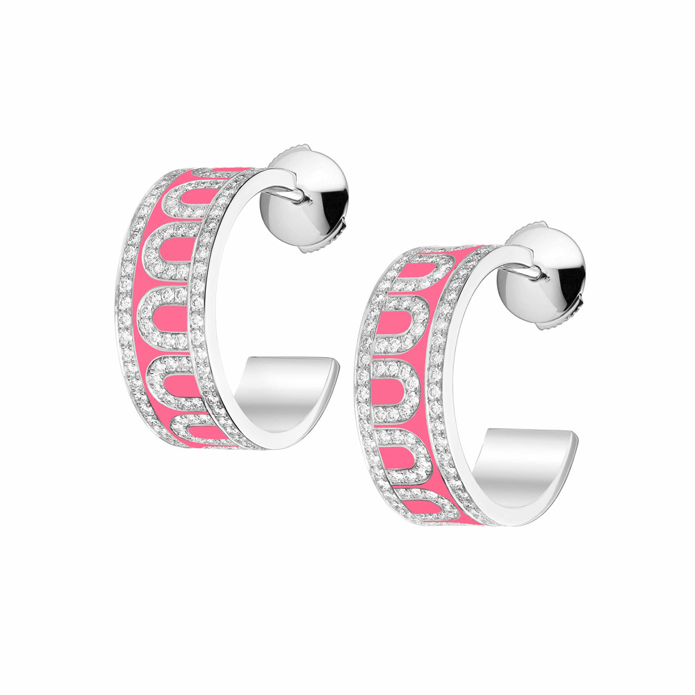 "18k White Gold, Diamond & May Rose Lacquer ""L'Arc"" Hoops"