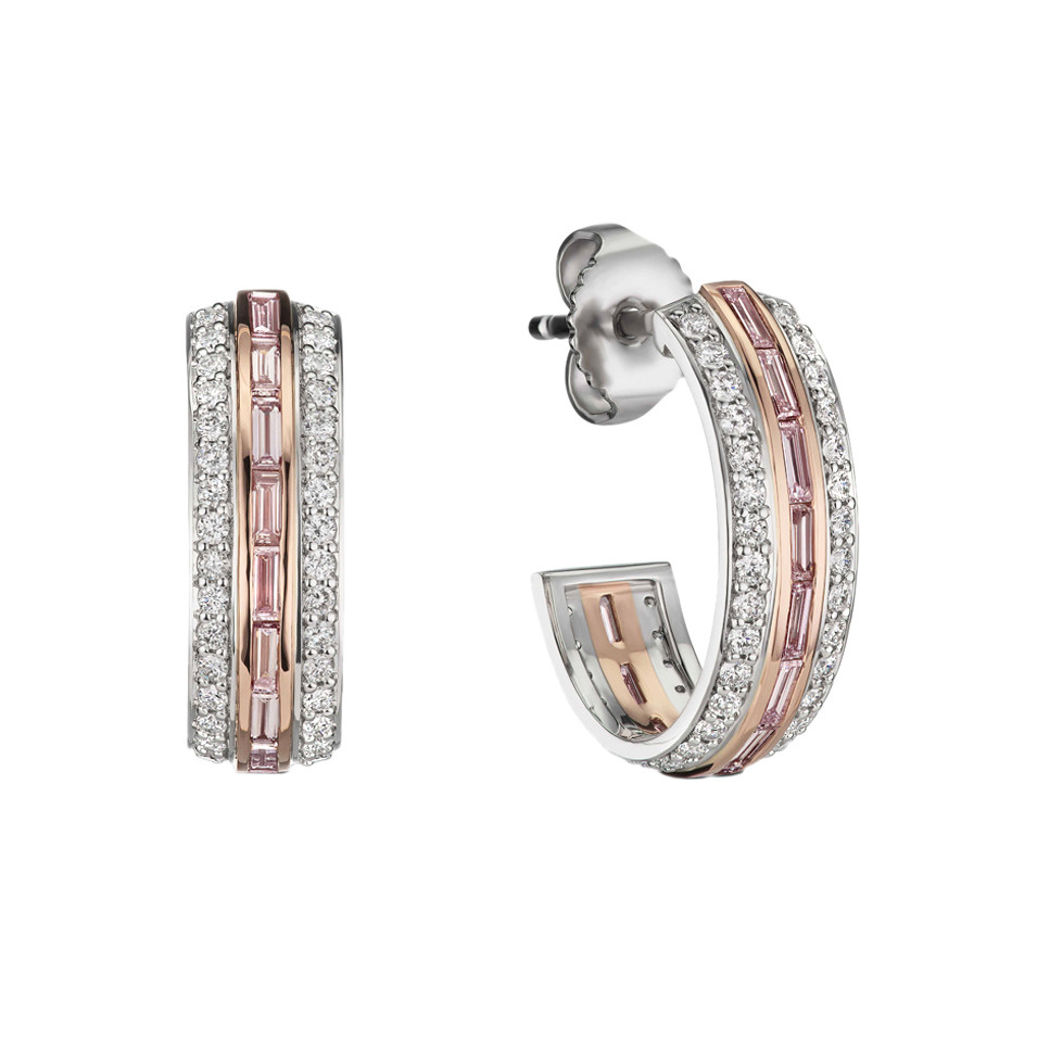Pink & White Diamond Hoop Earrings