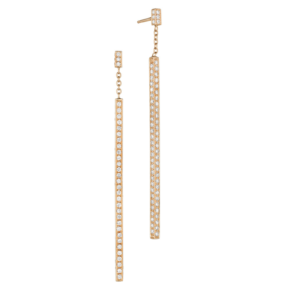 "18k Rose Gold & Diamond ""Stick"" Drop Earrings"