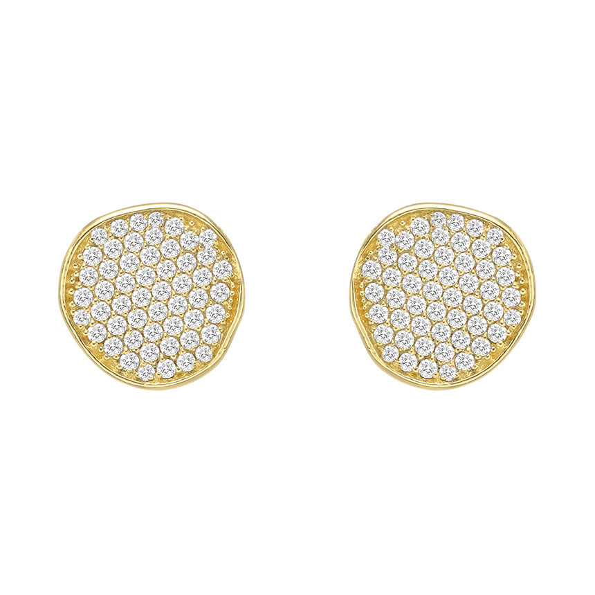 18k Yellow Gold & Diamond Disc Stud Earrings