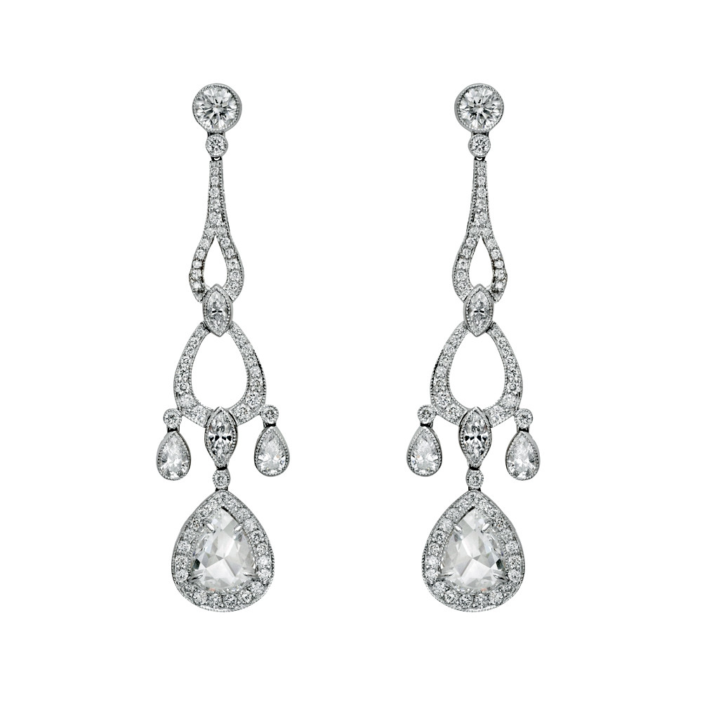 Rose cut diamond chandelier earrings betteridge diamond chandelier earrings in platinum composed of two pear shaped rose cut diamonds weighing 126 total carats four pear shaped diamonds weighing 039 arubaitofo Images
