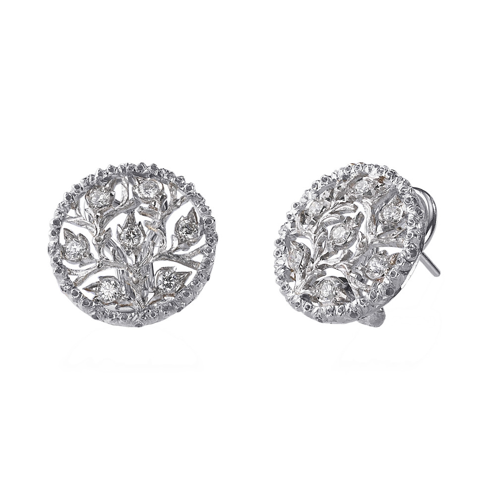 "18k White Gold & Diamond ""Ramage"" Button Earrings"