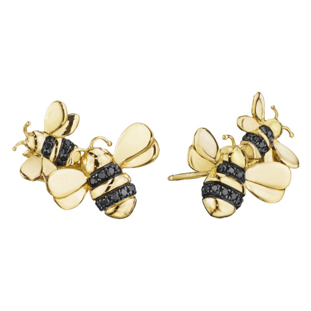 18k Gold & Black Diamond Bee Climber Earrings