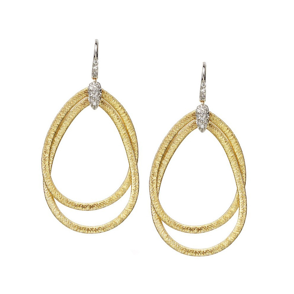 "18k Gold & Diamond ""Cairo"" Drop Earrings"