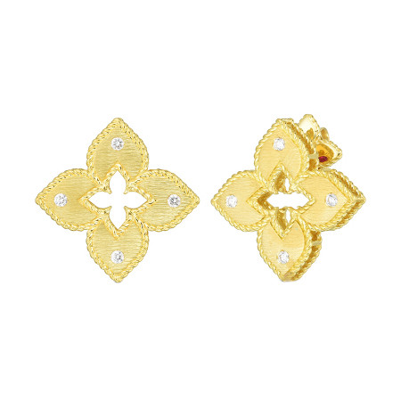 18k Gold & Diamond Venetian Princess Flower Earrings