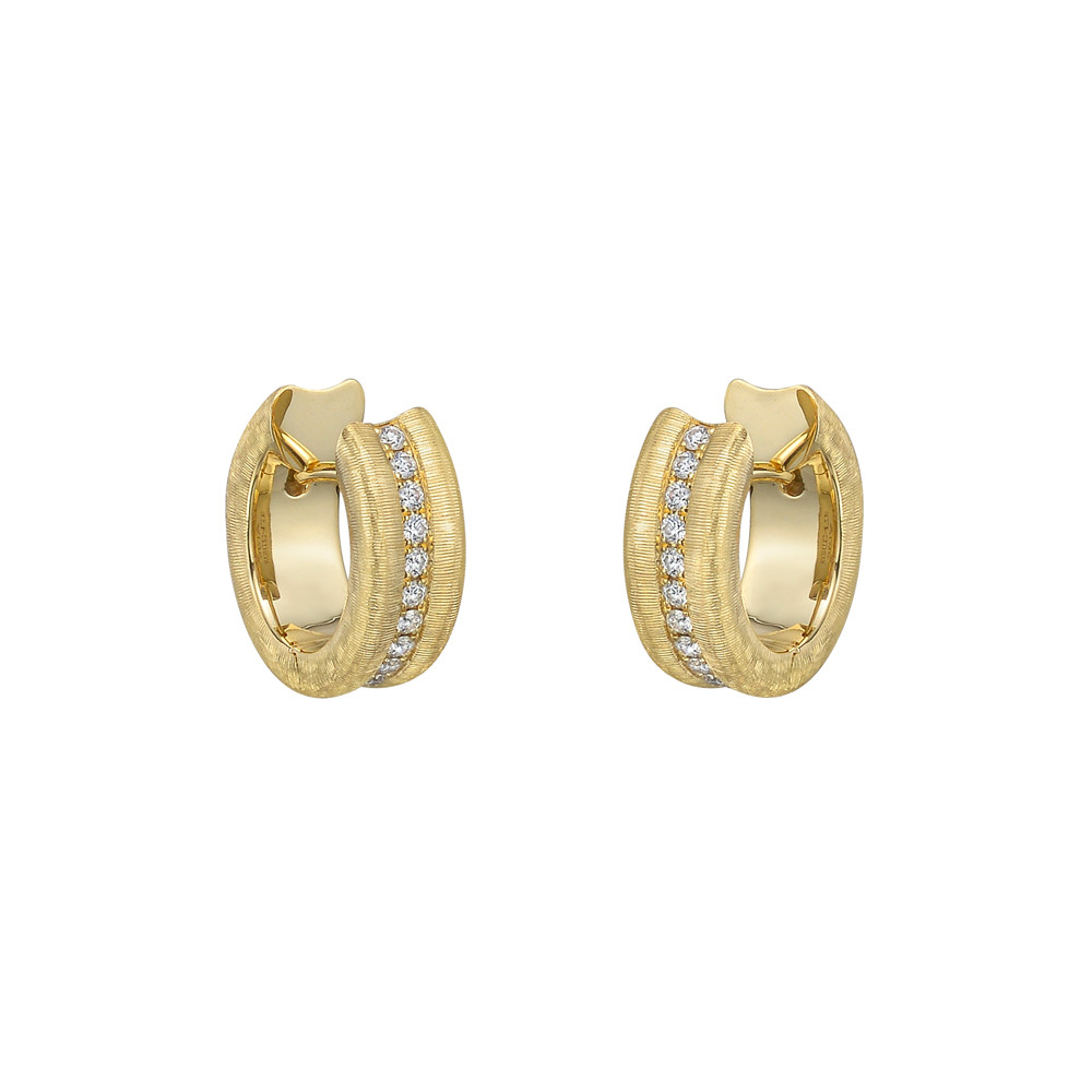 Small Brushed 18k Yellow Gold & Diamond Hoop Earrings