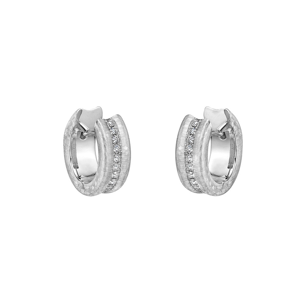 Small Brushed 18k White Gold & Diamond Hoop Earrings