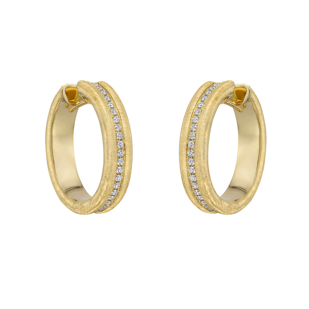 Brushed 18k Yellow Gold & Diamond Hoop Earrings