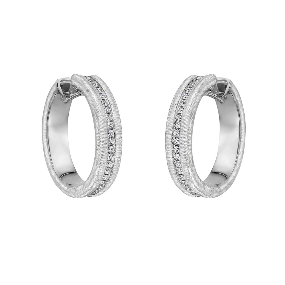 Brushed 18k White Gold & Diamond Hoop Earrings