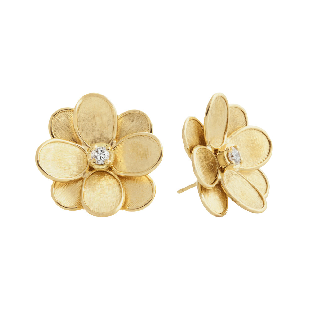 "18k Yellow Gold & Diamond ""Lunaria Petali"" Stud Earrings"