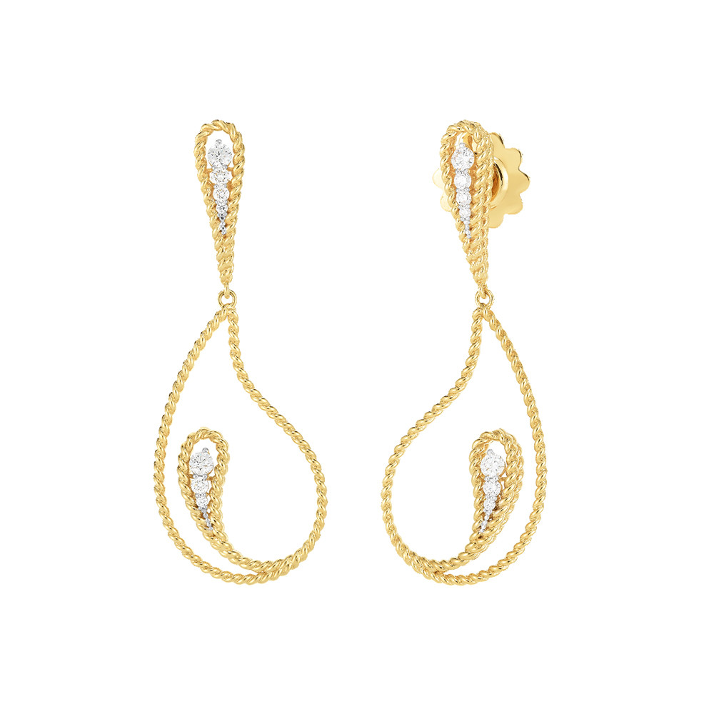 "18k Gold & Diamond ""Byzantine Barocco"" Drop Earrings"