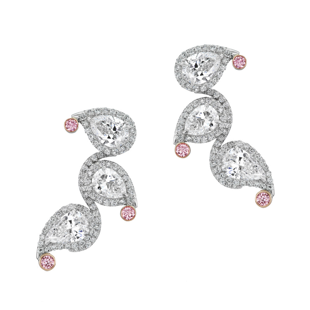 Pink & White Diamond Climber Earrings