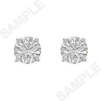 Round Brilliant Diamond Stud Earrings (3.04ct tw)