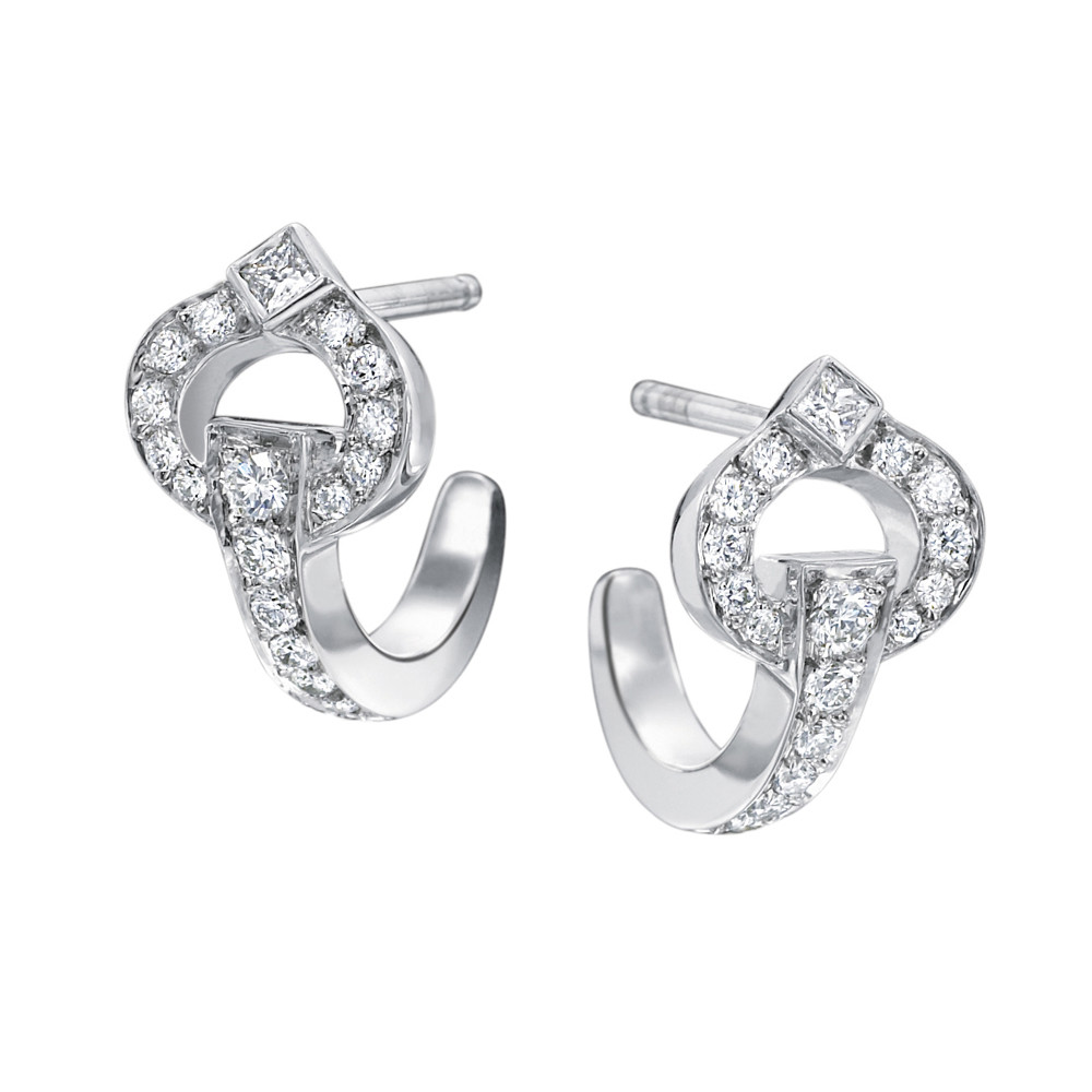"Large 18k White Gold & Diamond ""Gallop"" Earrings"