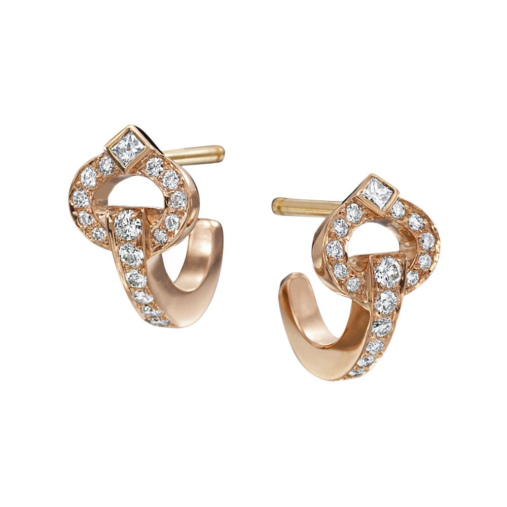 "Large 18k Rose Gold & Diamond ""Gallop"" Earrings"