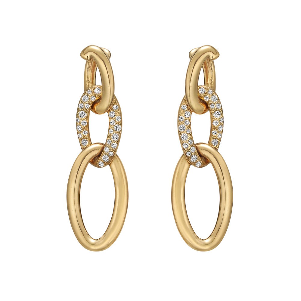 18k Yellow Gold & Diamond Curblink Drop Earrings