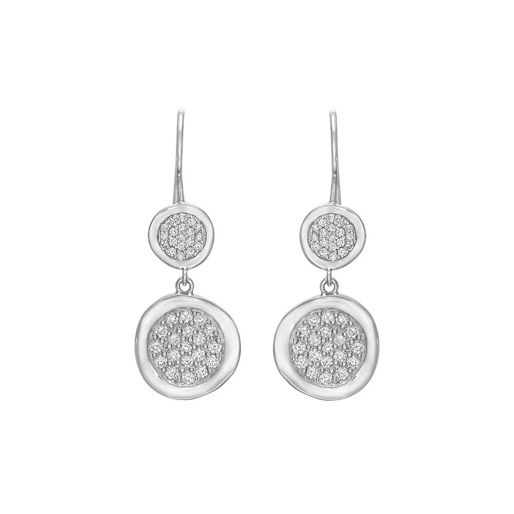 18k White Gold & Diamond Disc Drop Earrings