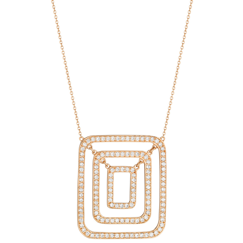 "Medium 18k Rose Gold & Diamond ""Piece"" Pendant Necklace"