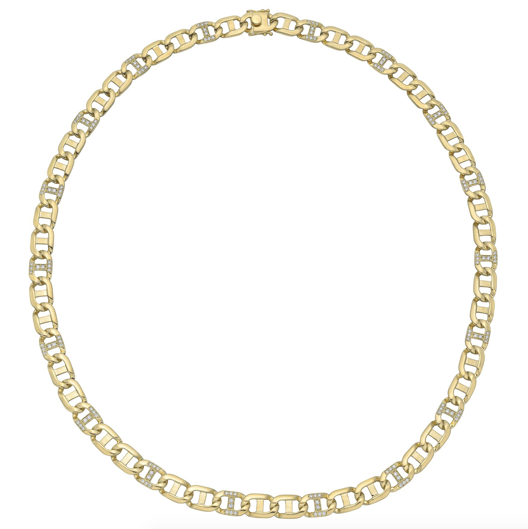 18k Yellow Gold & Diamond Anchor Link Necklace