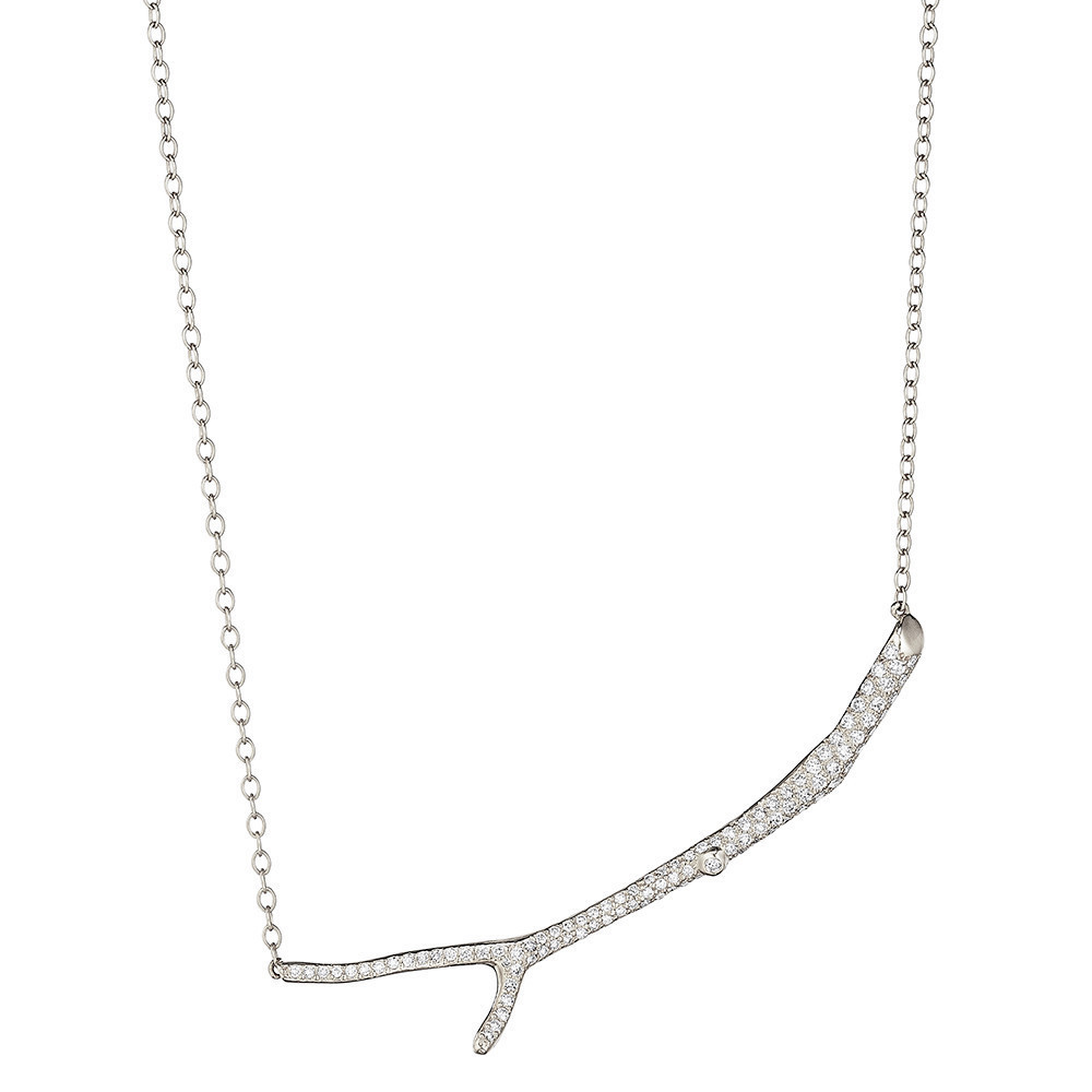 18k White Gold & Diamond Twig Pendant