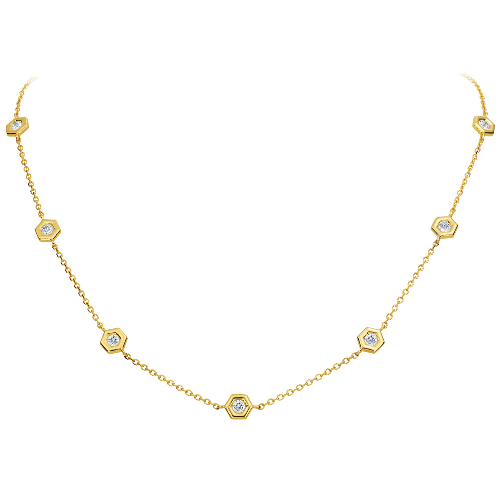 "18k Gold & Diamond ""Mini B"" Station Necklace"