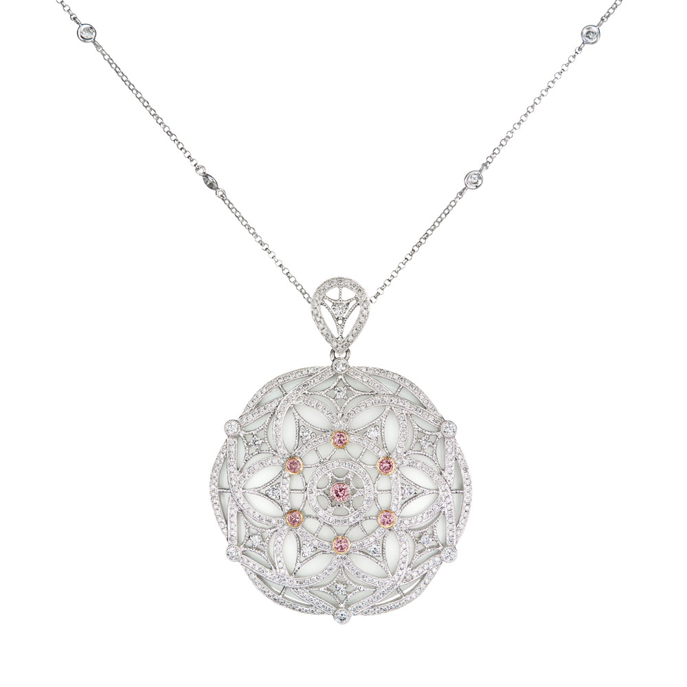 "Pink & White Diamond ""Deco"" Medallion Pendant Necklace"