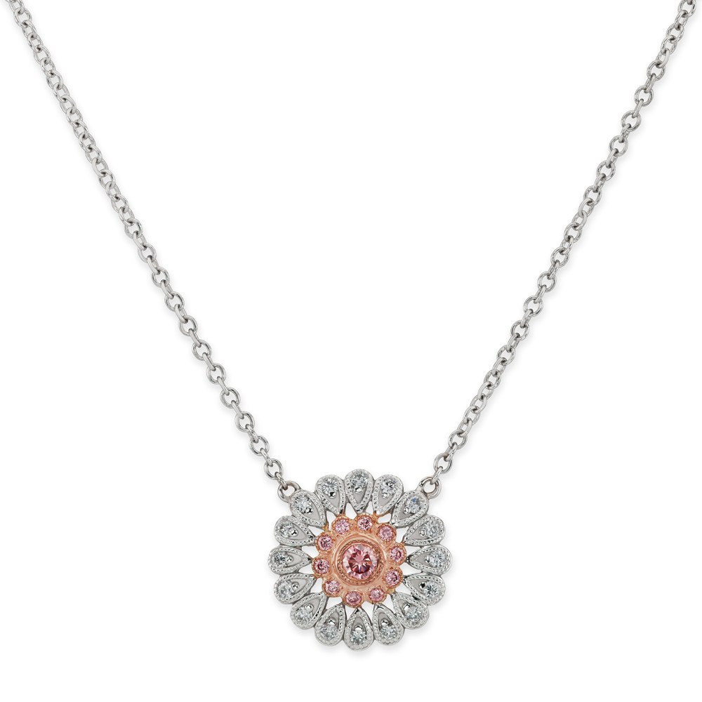 "Pink & White Diamond ""Deco"" Flower Pendant"