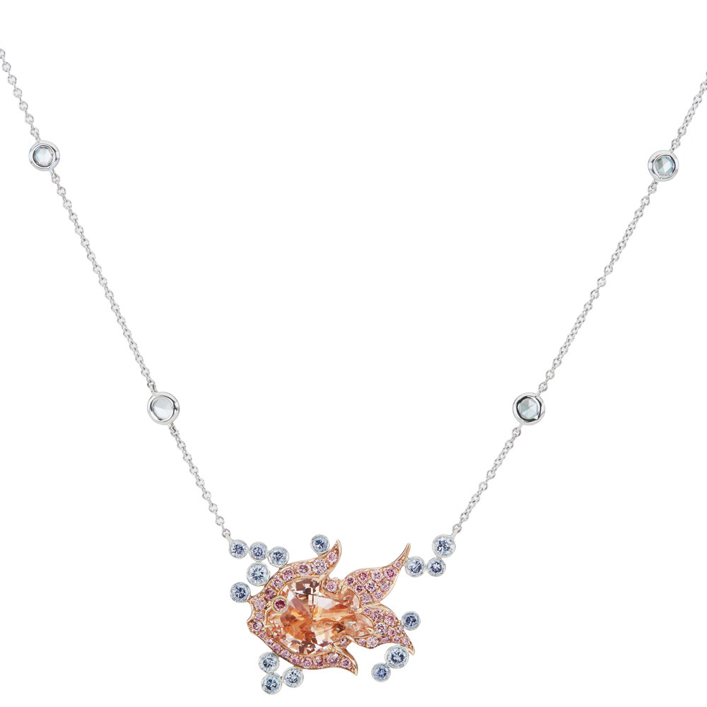 Fancy Pink & Blue Diamond Fish Pendant Necklace