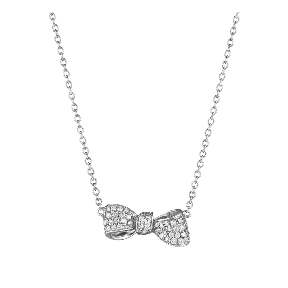 Extra Small Pavé Diamond Bow Pendant Necklace