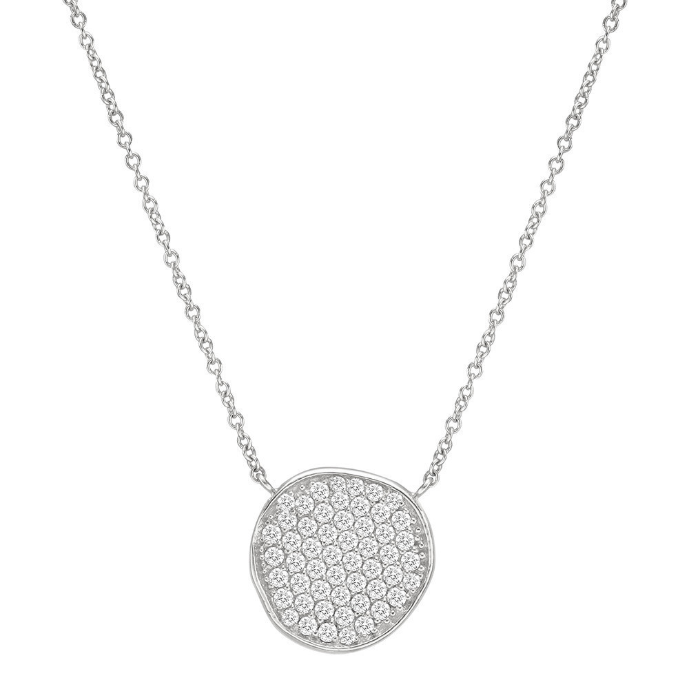 18k White Gold & Diamond Disc Pendant