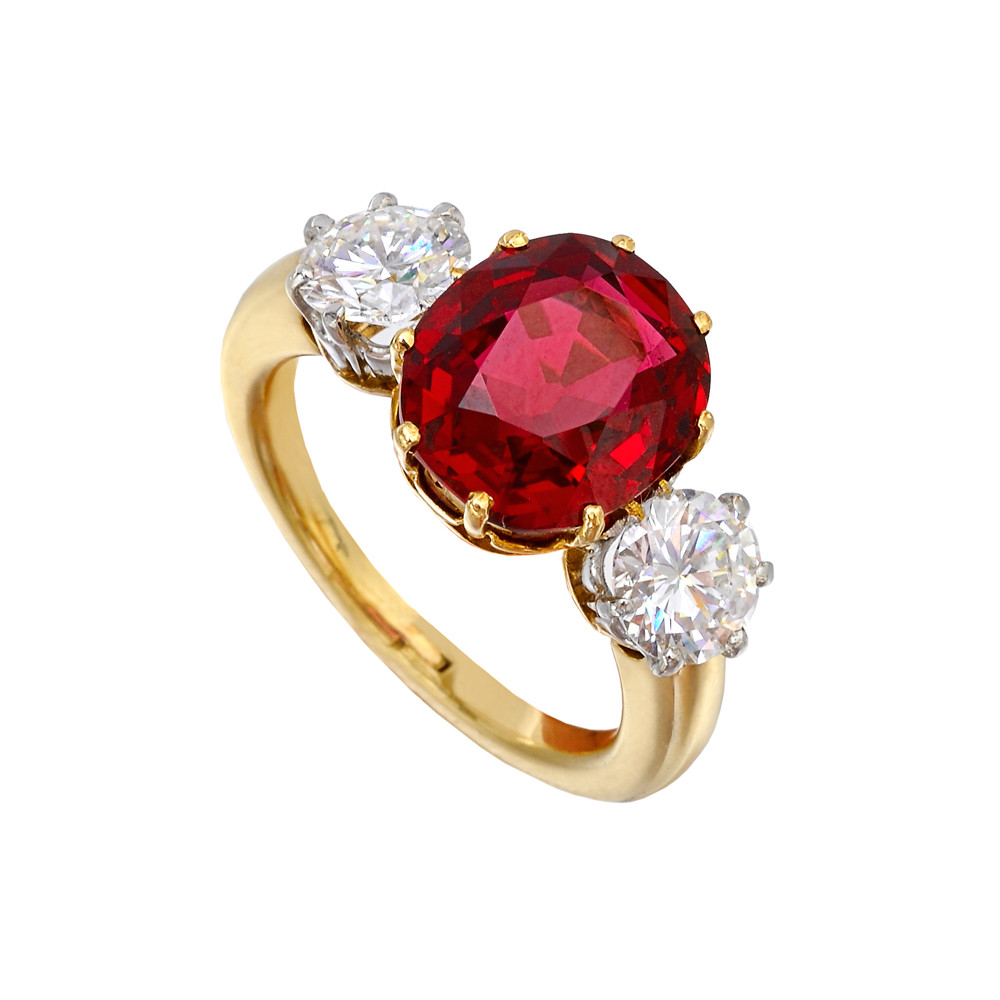 Estate Antique Spinel Amp Diamond Three Stone Ring Betteridge