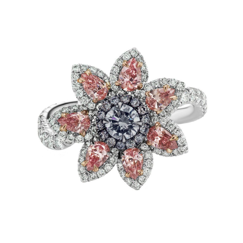 Blue & Pink Diamond Flower Ring/Pendant