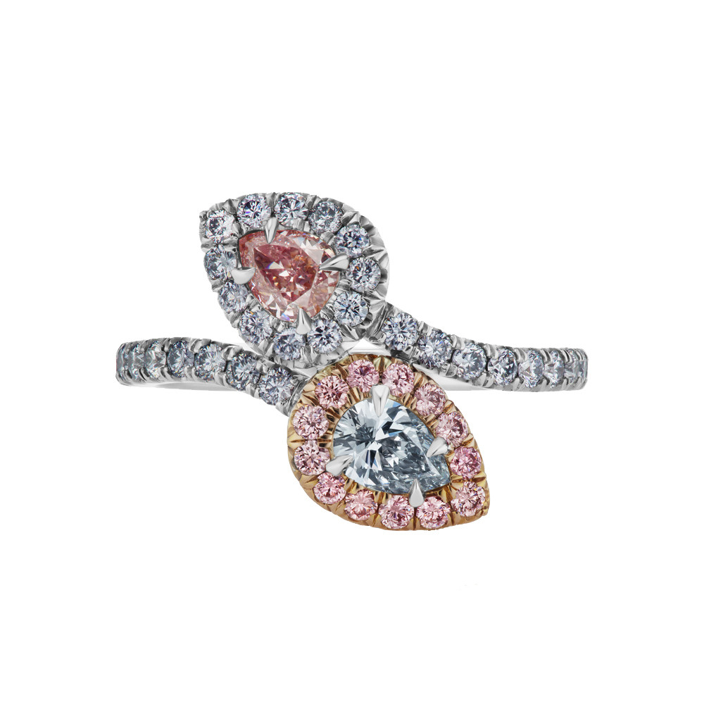 Blue & Pink Diamond Bypass Ring