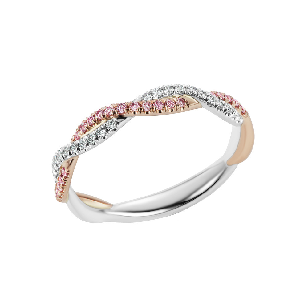 Pink & White Diamond Braided Band Ring