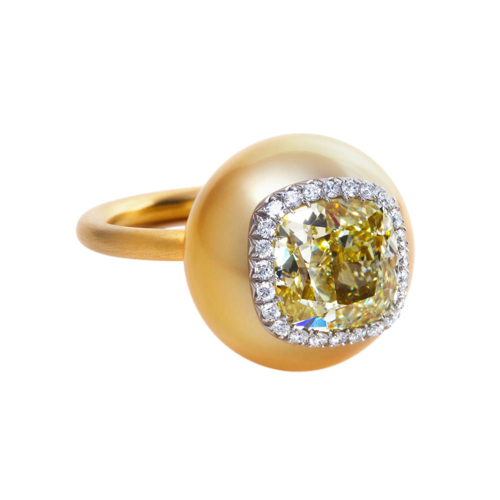 "4.08ct Fancy Yellow Diamond ""Poppy Pod"" Ring"